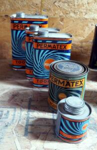 Permatex 1 Pint Gray Engine Enamel, 1/4 Pint Pipe Joint Compound, 1 Pint Toon-Oyl Cans Qty 2, And 1 Quart Can Toon-Oyl, All Full
