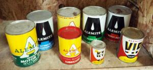 Vintage Alemite Motor Oil, 1 Quart Cans SAE30 Qty 2, 1 Quart Heavy Duty Motor Oil Qty 2, Wheel Bearing Lubricant, Kleen Treet Transmission Fluid, & More, Total Qty 8 Full Sealed Cans