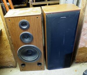 "Technics Model SBA27 3 Speaker System, Qty 2, 240 Watt, 35"" x 15"" x 9.5"", 1 Missing Front Cover"
