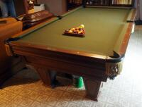 "Brunswick Heirloom Pool Table With Leather Pockets 32.5"" x 102"" x 56"" Includes Balls"