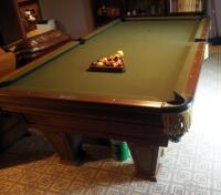"Brunswick Heirloom Pool Table With Leather Pockets 32.5"" x 102"" x 56"" Includes Balls - 2"