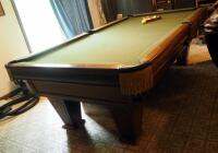 "Brunswick Heirloom Pool Table With Leather Pockets 32.5"" x 102"" x 56"" Includes Balls - 8"