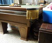 "Brunswick Heirloom Pool Table With Leather Pockets 32.5"" x 102"" x 56"" Includes Balls - 16"