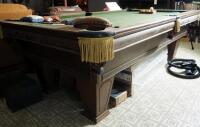 "Brunswick Heirloom Pool Table With Leather Pockets 32.5"" x 102"" x 56"" Includes Balls - 18"