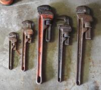 Ridgid Pipe Wrench Assortment, Various Sizes, Qty 5