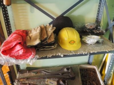Safety Gear Including Leather Gloves, Eye Protection, Knee Pads, Hard Hat, And Shop Rags