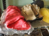 Safety Gear Including Leather Gloves, Eye Protection, Knee Pads, Hard Hat, And Shop Rags - 2