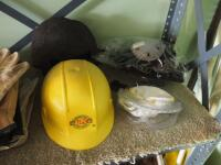 Safety Gear Including Leather Gloves, Eye Protection, Knee Pads, Hard Hat, And Shop Rags - 3