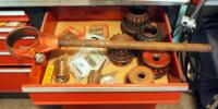 Ridgid Threading Dies, Reamers, Wrench, And More; Contents Of Drawer