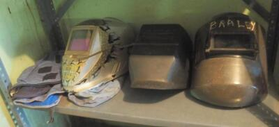 Welding Masks Including Miller, Original All-In-One Hood, Jackson Welding Hood, Sellstrom Safeguard Hood, And More; Contents Of Shelf