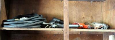 Central Pneumatic And Rodac Impact Wrenches, Pneumatic Chisel, Driver, Drill, And Air Hose, Contents Of Shelf