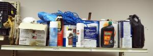 Latex Kilz, Paint Thinner, Wood Glue, Grease, Motor Oil, Denatured Alcohol, And Contents OF Shelf