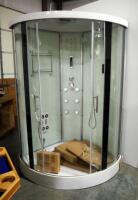 A.H. Furnico, Inc., Corner Shower Stall, 7 Jets, Rainfall Shower, Hand-Held Wand, Foot Massager, Built-In Lights, Phone And Speakers, Center Opening Doors, 44x44