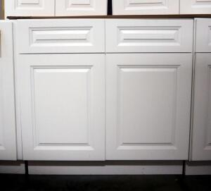 "Peak Home Products Aspen White Base Cabinet, 36"", 2 Total Drawers, 2 Doors, 1 Adjustable Shelf, Soft Close Doors"