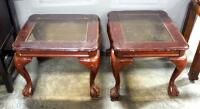 "Pair Of End Tables With Beveled Glass Tops And Claw And Ball Feet, 20"" High x 26"" Wide x 23"" Deep"