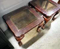 "Pair Of End Tables With Beveled Glass Tops And Claw And Ball Feet, 20"" High x 26"" Wide x 23"" Deep - 2"