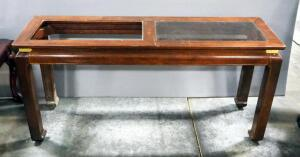 "Console Tale With Beveled Glass (1 Insert Missing), 27.25"" High x 56"" Long x 16"" Deep"