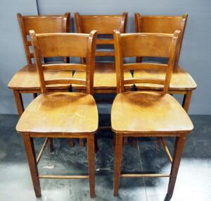 Brunch Chairs, Qty 5 With Ladder Backs And Foot Rungs