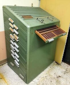 Vintage 23 Drawer Letterpress Type Cabinet, 51in x 35.5in x 27in, Contents Not Included, 2nd Day Load Out Only