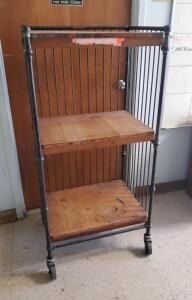 Vintage Rolling Wrought Iron Mail/Bell Hop Cart, 56.5in x 27.5in x 21in