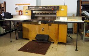Challenge Machinery Co 420 Industrial Paper Cutter, Model GPB, 60in x 114in x 96in, Powers On, Bidder Responsible For Proper Removal, 2nd Day Loadout Only, Includes 3 New Blades, See Description For Video