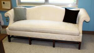 Century Furniture Company, Upholstered Sofa With Rolled Arms And Asian Motif, 34in x 88in x 33in