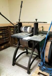 Antique Cast Iron Manual Cylinder Printing Press, 79in x 41in x 40in, Bidder Responsible For Removal