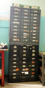 Metal 30 Drawer Storage Cabinet 36.5in x 31in x 12in And 27 Drawer Storage Cabinet 37.5in x 30in x 13in, Contents Included