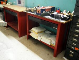 Metal Craftsman 2 Drawer Work Benches, Qty 2, 33.5in x 48in x 20.5in, Contents Not Included