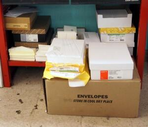 Paper Stock Assortment, Including Envelopes, Card Stock, Writing Tablets, Copy Paper And More, Contents Of 5 Shelves