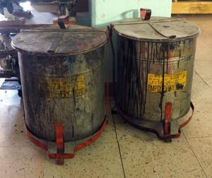 Justrite Manufacturing 10 Gal Oily Waste Cans, Qty 2