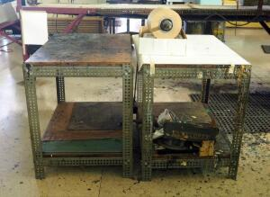 Custom Built Metal Framed Shop Tables, Qty 2, 30.5in x 36in x 24in