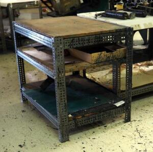Custom Built Shop Tables, Qty 2, 30.5in x 36in x 24in, Contents Not Included