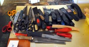 Shears, Putty Knives, And Hand File Assortment