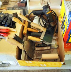 Milwaukee Electric Heat Gun, Masonry And Mudding Hand Tools Including Assorted Trowels And Scrapers