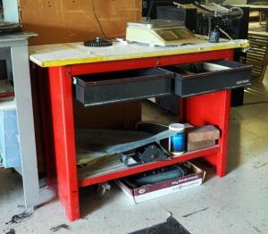 Craftsman Metal 2 Drawer Work Bench, 33.5in x 48in x 20in, Contents Not Included