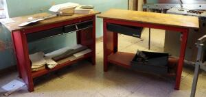 Craftsman Metal 2 Drawer Work Benches, Qty 2, 33.5in x 48in x 20in, One Drawer Needs Repair, Contents Not Included