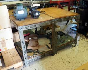 Custom Built Metal Framed Shop Tables Qty 2, 30.25in x 36in x 24in And 30.25in x 48in x 24in, Contents Not Included