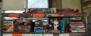 Large Nylon Red Baron Kite, Assorted Board Games, Coloring Posters, Battery Operated Robot And More, Contents Of 2 Shelves