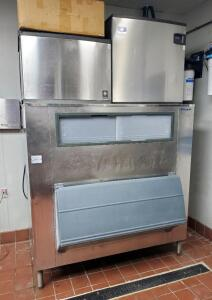 Manitowac Ice Machines Qty. 2, Models QY0674C And IY2176C-161 And Follett Ice Storage Bin Model SG1475S-60, 63in x 60in x 26in, Includes Manitowac Automatic Cleaning System, Bidder Responsible For Proper Disconnection & Removal