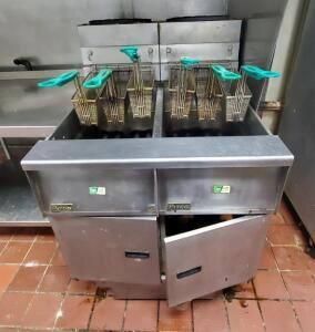 Pitco Frialator Dual Natural Gas Fryers, Model# SG-14, 46in x 31.25in x 34.5in, & Fryer Baskets, Bidder Responsible For Proper Disconnection & Removal