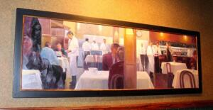 Framed Canvas Print Depicting Restaurant And Bar Scene, 42in x 120in, Bidder Responsible For Proper Removal