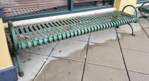 Dumor Inc 8ft Steel Bench, 27In Tall x 22in Deep, Bidder Responsible For Proper Removal, Mounted To Sidewalk