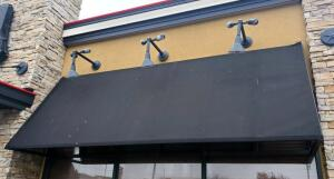 Metal Framed Awnings With Black Canvas Shades Qty 2, 69in Tall x 37in Deep x 196in