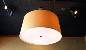 36in Drum Style Three Light Ceiling Fixture, 18.25in Tall, Bidder Responsible For Removal