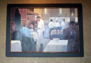 "Framed Canvas Print Depicting Formal Restaurant Scene, 42""x60"" Bidder Responsible For Removal, Mounted To Wall"