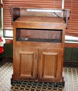Rolling Wood Hostess Stand With Storage Cabinet, Doors Need Minor Repair, 44in x31.5in x20.5in