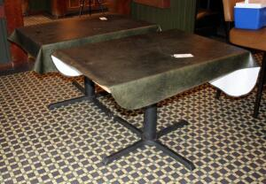 Four-Top Dining Tables With Steel Pedestal Bases, Tops Unfinished, Includes Vinyl Tablecloths, Qty 2, 30.5in x44in x30in