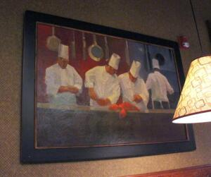 Framed Canvas Print Depicting Chefs Inspecting Lobster, 42in x60in, Bidder Responsible For Proper Removal, Mounted To Wall