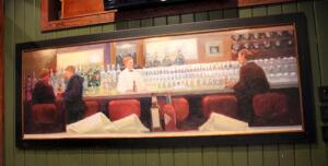 Framed Canvas Print Depicting Bar Scene, 42in x108in, Bidder Responsible For Proper Removal, Mounted To Wall